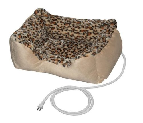 10.ALEKO PBH20X16X8 Electric Thermo-Pad Heated Pet Bed for Dogs and Cats 20 x 16 x 8 Inches Leopard Print