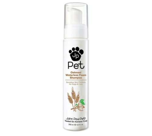 10.John Paul Pet Oatmeal Waterless Foam Shampoo for Dogs and Cats, Sensitive Skin Formula, 8.5-Ounce