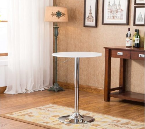 10.Roundhill Furniture Adjustable Height Wood and Chrome Metal Bar Table, White