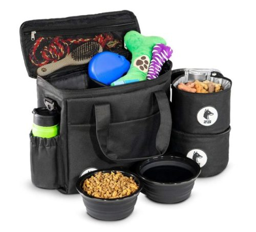 10.Top Dog Travel Bag - Airline Approved Travel Set for Dogs Stores All Your Dog Accessories - Includes Travel Bag, 2X Food Storage Containers and 2X