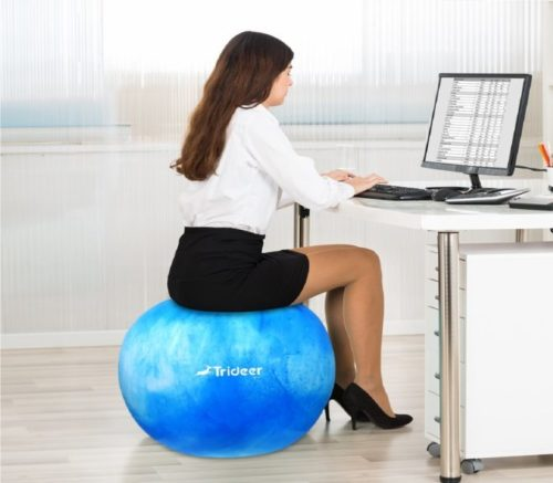 10.Trideer Exercise Ball (Multiple Color), Yoga Ball, Birthing Ball with Quick Pump, Anti-Burst & Extra Thick, Heavy Duty Ball Chair, Stability Ball