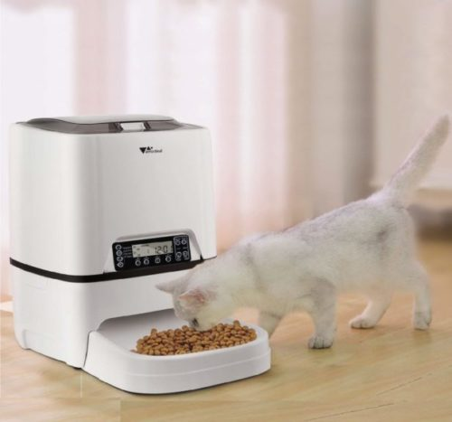 10.amzdeal Automatic Cat Feeder 6L Pet Feeder Dog Food Dispenser with Time and Meal Size Programmable, LCD Display and Meal Call Recorder Up to 4 Meals A Day
