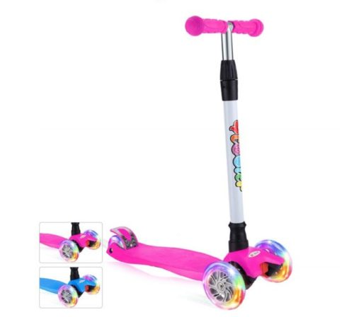 11.BELEEV Kick Scooter for Kids 3 Wheel Scooter, 4 Adjustable Height, Lean to Steer with PU LED Light Up Wheels for Children from 3 to 14 Years Old (Pink)