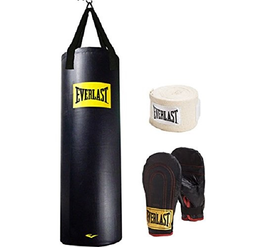 11.Everlast Heavy Bag Kit 100 lb Pound Punching Boxing Bag Gloves Hand Wraps NEW