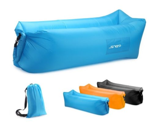 11.JSVER Inflatable Lounger Air Sofa with Portable Package for Travelling, Camping, Hiking, Pool and Beach Parties, Blue