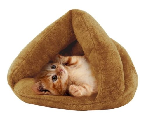 11.Make you perfect Self-Warming Cat Bed Plush Cat Sleep Bag Cozy Cave Covered Dog Beds for Small Dogs Heated Cat Bed Indoor Pet Triangle Nest (Khaki)