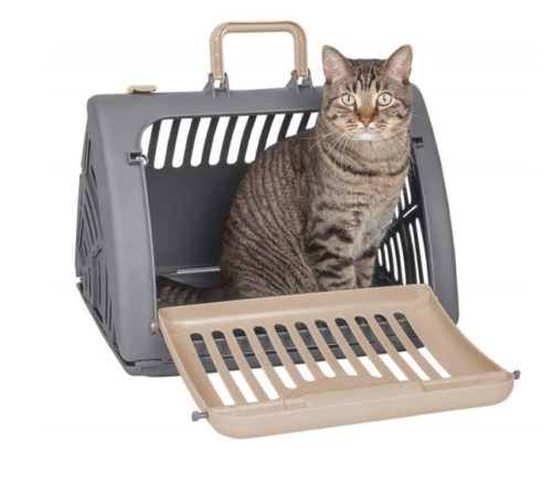 11.SportPet Designs Foldable Travel Cat Carrier - Front Door Plastic Collapsible Carrier