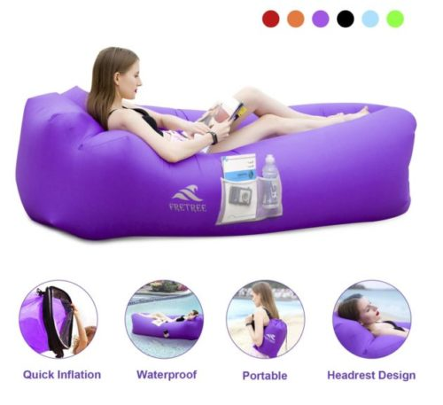 12.FRETREE Inflatable Lounger Air Sofa Hammock - Portable Anti-Air Leaking & Waterproof Pouch Couch and Beach Chair Camping Accessories for Parties, Travel.