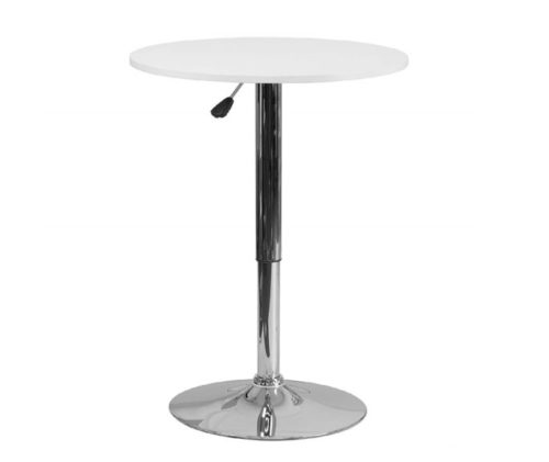 12.Flash Furniture 23.75' Round Adjustable Height White Wood Table (Adjustable Range 26.25' - 35.75')