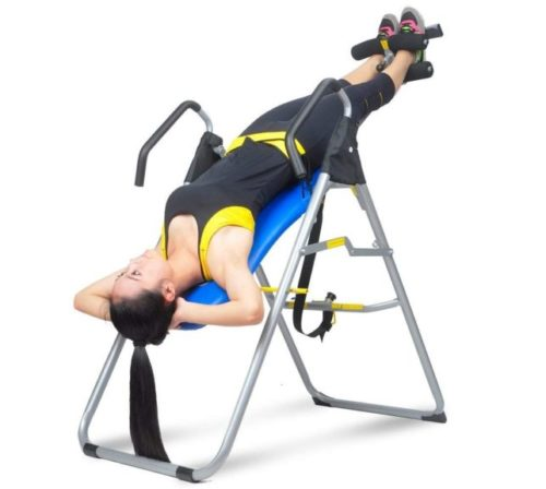 12.HYD-Parts Inversion Table,Back Therapy Fitness Back Pain Relief, Adjustable Folding Therapy Back Inversion Table for Home Exercise (Blue&Black)