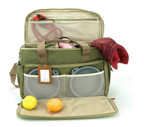 12.Houndy! Yoho Dog's Travel Bag. Large Stylish Waterproof Durable Canvas. Perfect for Traveling, Camping, Outdoors, Carry-on Dog Bag. Two Pet-Safe Food.