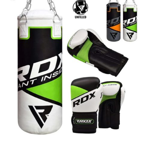 12.RDX Kids Punch Bag UNFILLED Set Junior Kick Boxing 2FT Heavy MMA Training Youth Gloves Punching Mitts Muay Thai Martial Arts
