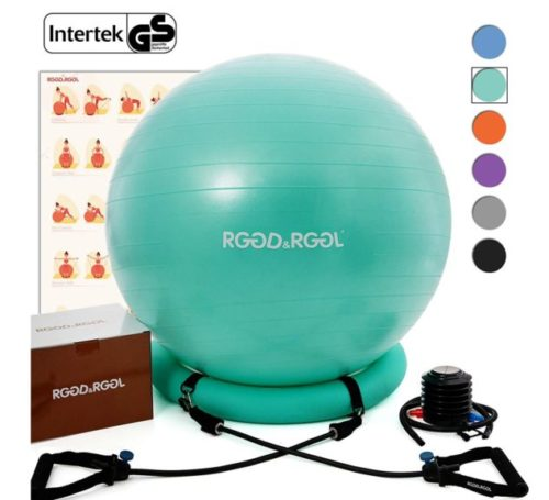 12.RGGD&RGGL Yoga Ball Chair, Exercise Balance Ball Chair 65cm with Inflatable Stability Ring, 2 Resistant Bands and Pump for Core Strength and Endurance