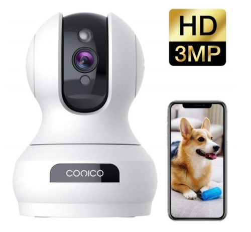 12.Wireless Security Camera 1536P Pet Camera, CONICO 3MP Dog Cam Baby Monitor 360° Viewing 8X Zoom, 2-Way Audio, Surveillance Camera with Motion Sound