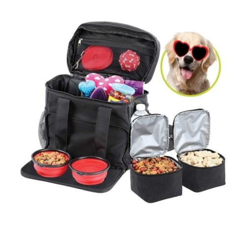 13.Bundaloo Dog Travel Bag Accessories Supplies Organizer 5-Piece Set with Shoulder Strap 2 Lined Pet Food Containers, 2 Collapsible Feeding Bowls. Everyday