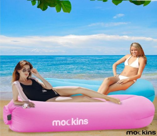 13.Mockins 2 Pack Inflatable Lounger Air Sofa Perfect for Beach Chair Camping Chairs or Portable Hammock and Includes Travel Bag Pouch and Pockets Easy to