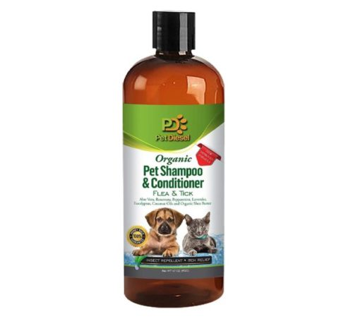 13.Pet Diesel Flea & Tick Pet Shampoo & Conditioner for Dogs and Cats Organic for Itch Free, Dry Skin, Preventative & Relief, Pest Free for Pet