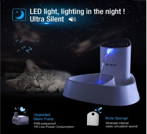 13.isYoung Cat Fountain LED Pet Water Fountain Ultra Quiet Automatic Pet Water Dispenser with Adjustable Water Flow and Activated Carbon Filter for Dogs, Cats