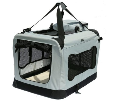 14.Soft Sided Pet Carrier with Steel Frame - Dog House Style Portable Pet Crate - Cats & Dogs - Designed for Comfort & Safety - Padded Fleece Bedding...