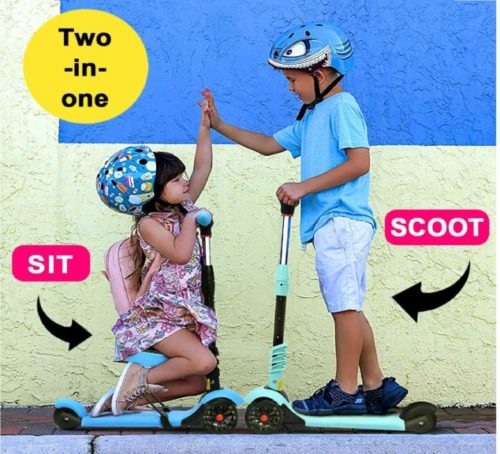 14.XJD 2-in-1 Scooter for Kids with Folding Removable Seat for Boys Girls - Toddler Kick Scooter Adjustable Height PU Flashing Wheels for Children from 2 to 8.