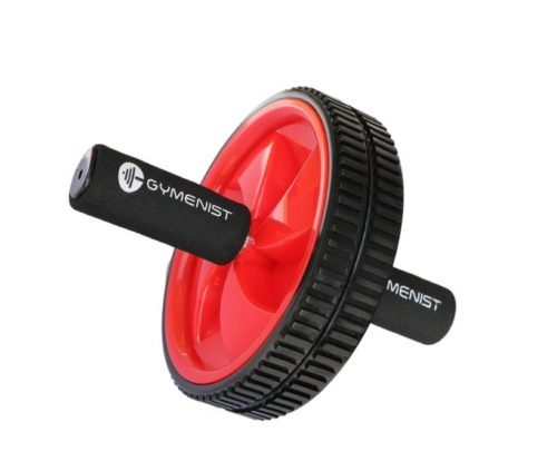 14,Abdominal Exercise Ab Wheel Roller with Foam Handles, Great Grip, Double Wheels, Top Professional Quality (Red)