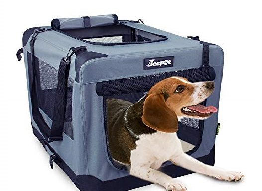 15.JESPET Soft Dog Crates Kennel for Pets, 3 Door 26 Soft Sided Folding Travel Pet Carrier with Straps and Fleece Mat for Dogs, Cats, Rabbits