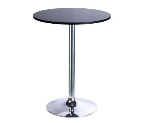 15.Leopard MDF Round Top Not Adjustable (41 INCHES Height) Bar Table, Pub Table with Silver Leg and Base (Black)