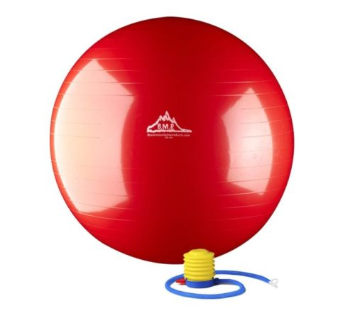 2.Black Mountain Products Static Strength Exercise Stability Ball with Pump, Red, 75cm 2000 lb