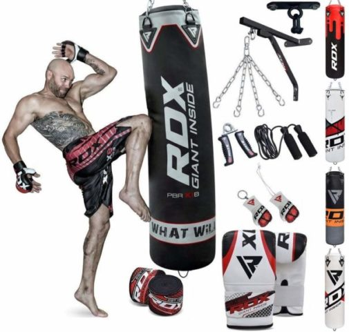 2.RDX Punch Bag for Boxing Training Filled Heavy Bag Set with Punching Gloves, Chain, Wall Bracket Great for Grappling, MMA, Kickboxing, Muay Thai, Karate.