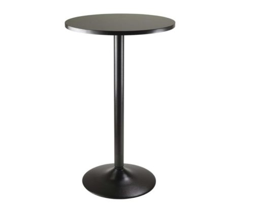 2.Winsome Obsidian Pub Table Round Black Mdf Top with Black Leg And Base - 23.7-Inch Top, 39.76-Inch Height