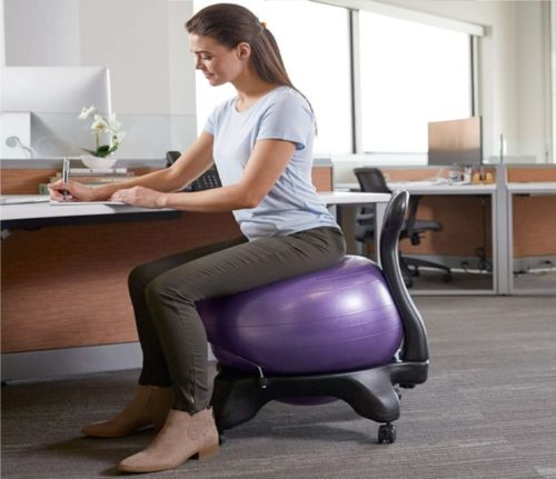 3.Gaiam Classic Balance Ball Chair - Exercise Stability Yoga Ball Premium Ergonomic Chair for Home and Office Desk with Air Pump, Exercise Guide and