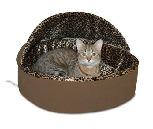 3.K&H Pet Products Thermo-Kitty Heated Pet Bed Deluxe Large Mocha Leopard 20 4W