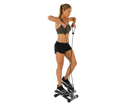 3.Sunny Health & Fitness Mini Stepper with Resistance Bands