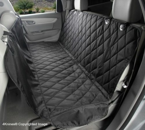 4.4Knines Dog Seat Cover with Hammock for Cars, Small Trucks, and SUVs - Black Regular - USA Based Company