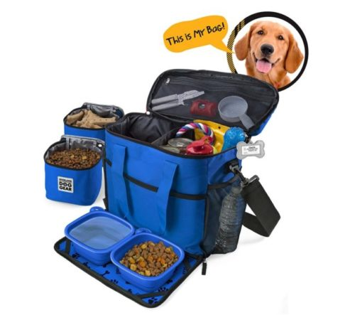 4.Dog Travel Bag - Week Away Tote for Med and Large Dogs - Includes Bag, 2 Lined Food Carriers, Placemat, and 2 Collapsible Bowls (Royal Blue)