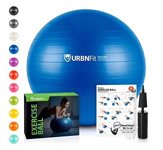 4.URBNFit Exercise Ball (65 cm) for Stability & Yoga - Workout Guide Incuded - Professional Quality (Blue)
