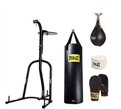 5.Everlast Dual Station Heavy Bag Stand, 100-lb, Speedbag, Value Bundle