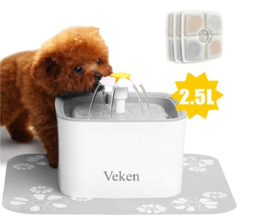 5.Veken Pet Fountain, 84oz 2.5L Automatic Cat Water Fountain Dog Water Dispenser with 3 Replacement Filters & 1 Silicone Mat for Cats, Dogs, Multiple Pets