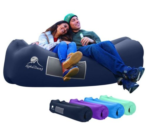 6.AlphaBeing Inflatable Lounger - Best Air Lounger for Travelling, Camping, Hiking - Ideal Inflatable Couch for Pool and Beach Parties - Perfect Air Chair for