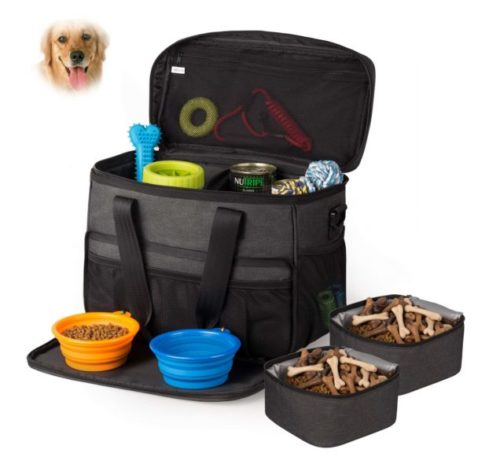 6.Hilike Pet Travel Bag for Dog&Cat -Weekend Tote Organizer Bag for Dogs Travel -Incudes1 Dog Tote Bag,2 Dog Food Carriers Bag,2 Pet Silicone Collapsible