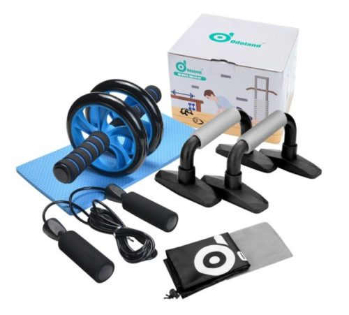 5.Odoland 3-in-1 AB Wheel Roller Kit AB Roller Pro with Push-Up Bar, Jump Rope and Knee Pad - Perfect Abdominal Core Carver Fitness Workout for Abs - with.