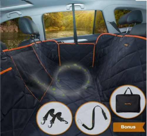 6.iBuddy Dog Car Seat Covers for Back Seat of Car TrucksSUV, Waterproof Dog Car Hammock with Mesh Window, Side Flaps and Dog Seat Belt, Durable Anti-Scratch