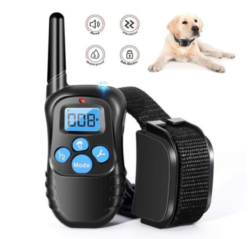 7.Dog Training Collar Rechargeable Rainproof 330 yd Remote Dog Training Shock Collar -Vibration, Vibra Shock Electronic Collar,Shock and Tone with Backlight LCD