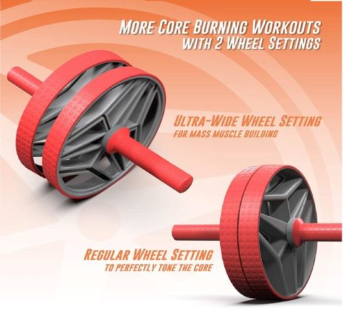 6.Epitomie Fitness BIO Core Ab Roller Wheel with 2 Configurable Wheels and Non-Slip Handles - Ab Wheel Trainer with Kneeling Mat for Strong Core (Red Grey)
