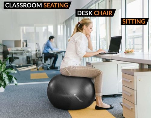 7.Exercise Ball for Yoga, Balance, Stability from SmarterLife - Fitness, Pilates, Birthing, Therapy, Office Ball Chair, Classroom Flexible Seating - Anti.