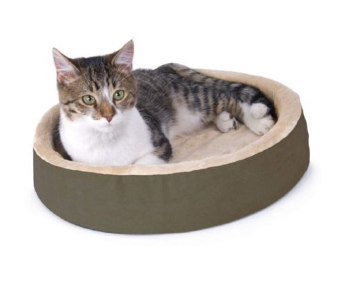 7.K&H Pet Products Thermo-Kitty Cuddle Up Heated Pet Bed Mocha 16 4W