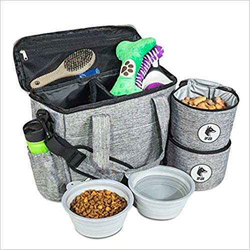 7.Top Dog Travel Bag - Airline Approved Travel Set for Dogs of All Sizes - Stores All Your Dog Accessories - Includes Travel Bag, 2x Food Storage Containers and 2x Collapsible Dog Bowls - Gray Misc.