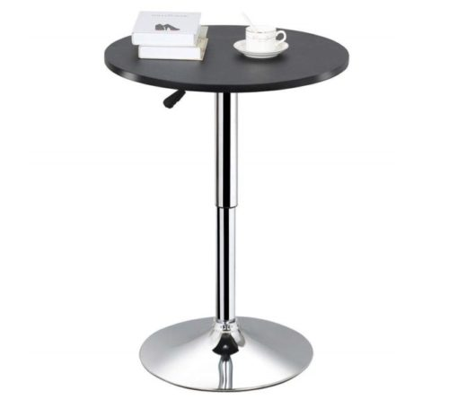7.Topeakmart Adjustable Round Pub Table Counter Bar Height MDF Top Table 306° Swivel Bar Tables Tall Cocktail Tables Bistro Table
