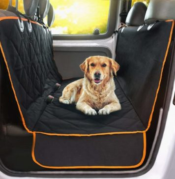 8.Doggie World Dog Car Seat Cover - XL Cars, Trucks and Suvs Luxury Full Protector, w Extra Side Flaps, Seat Belt Openings - Hammock Convertible for Your Pet
