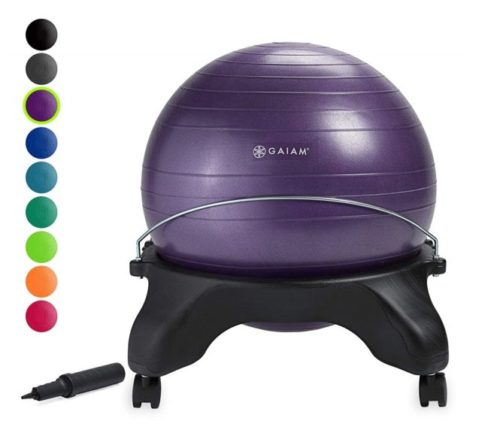 8.Gaiam Classic Backless Balance Ball Chair - Exercise Stability Yoga Ball Premium Ergonomic Chair for Home and Office Desk with Air Pump, Exercise Guide and